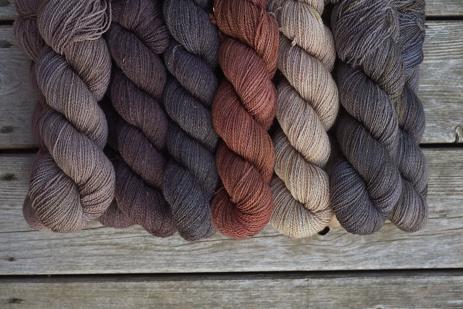 Persephone dyed over white and dark grey natural colours.