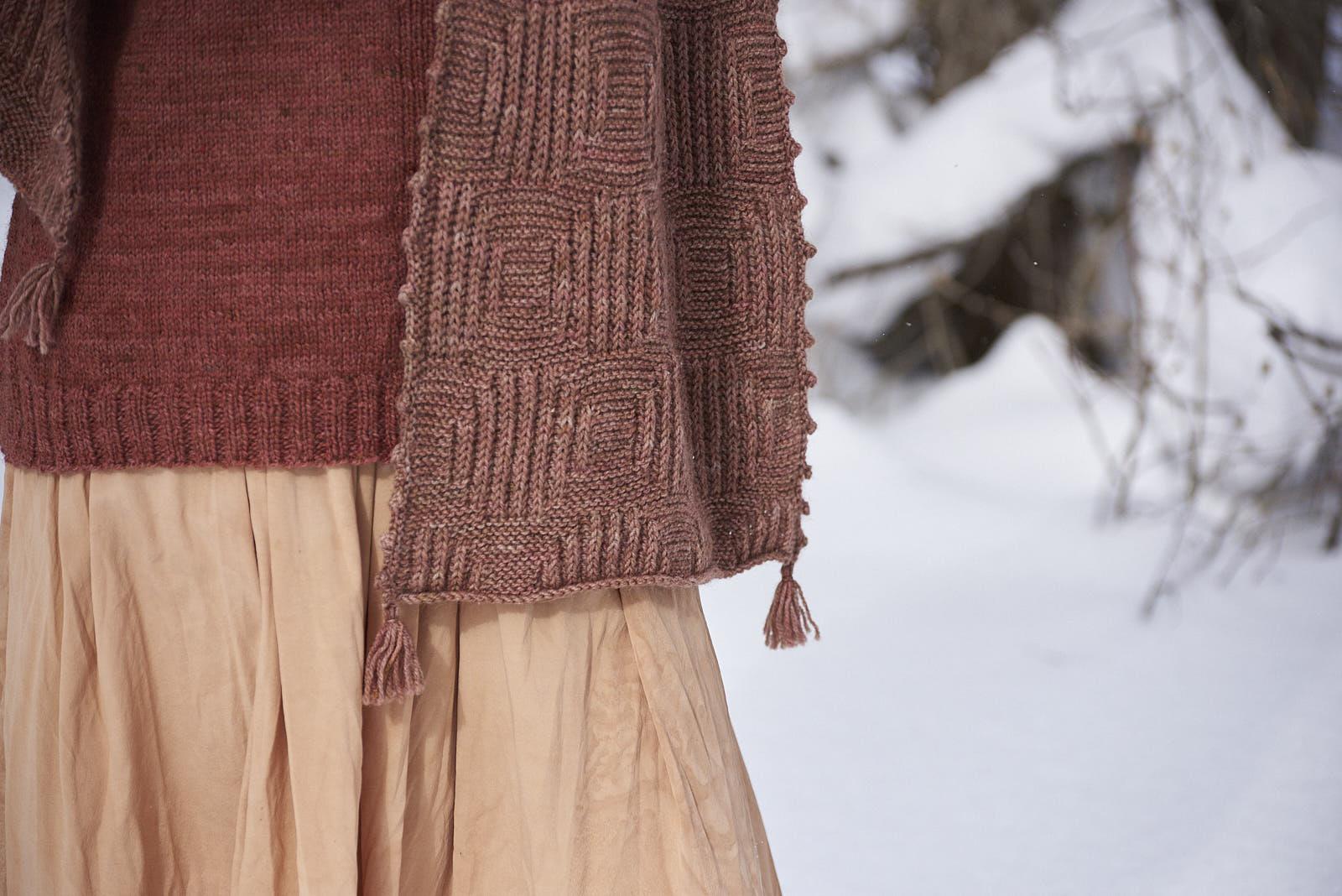 Barn Sweater  worn with  Full Moon Wrap .