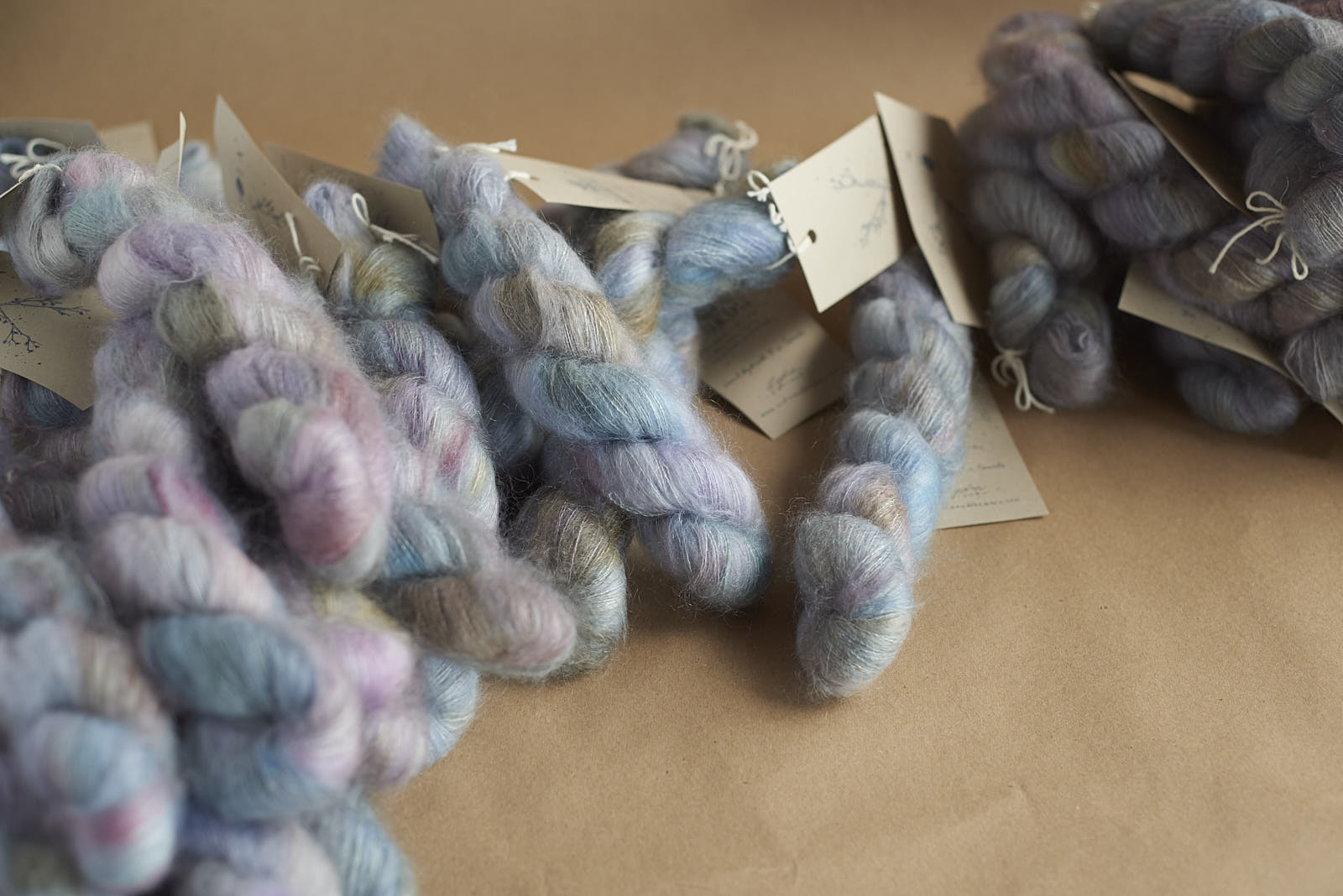 lots of mohair! These are two, quite different, batches of the colourway 'Lydia'