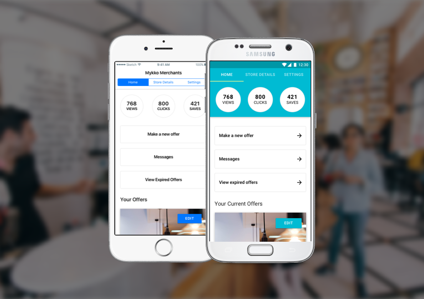 The merchant app allows business owners to manage their  Mykko  offers