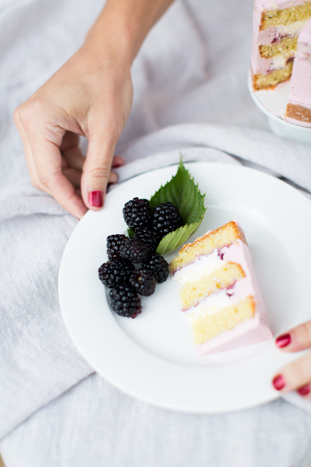 WILDBLACKBERRY CURD  2 c. wild blackberries (~1/2 C-3/4 C juice)  3 eggs yolks  4 tablespoons unsalted butter, cubed  ¼ C sugar  2 TB lemon juice  Bring blackberries, ¼ cup sugar and ¼ cup water to a simmer over medium; reduce to low heat and cook 10 minutes. Remove from heat and let cool 30 minutes. Once cool, puree blackberries in a food processor and strain in a fine-meshed sieve, to make about ½-3/4 cups juice.   Put egg yolks, zest and lemon juice in a saucepan, add berry juice and stir well. Cook over low heat, stirring constantly, until mixture thickens enough to coat the back of a spoon. Once thickened, remove from heat and strain curd through a fine-meshed sieve, pushing through with a spoon.  Whisk butter into warm curd until completely melted and combined. Cover top of curd tightly with plastic wrap to prevent a film from forming on top of curd and let cool completely before chilling in refrigerator.  Store in fridge for up to a week or freeze up to 3 months.  For Blackberry Buttercream, using a whisk attachment, add two tablespoons blackberry curd for every 2 cups of your favorite buttercream recipe and mix on medium speed until combined. To eliminate air bubbles, switch to a paddle attachment and mix for 2 minutes on medium speed.