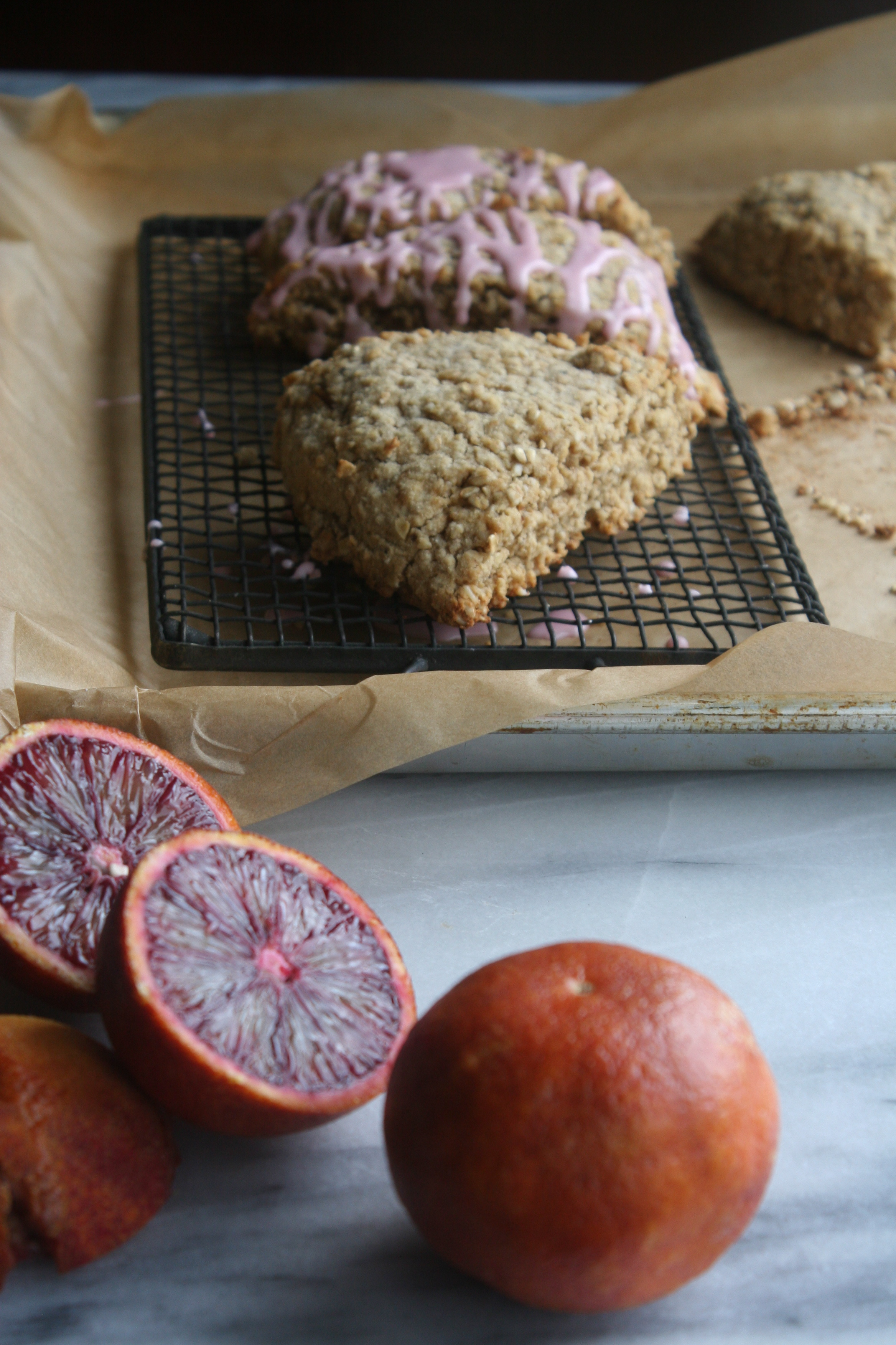Simple recipe for healthy oat scones with blood orange glaze