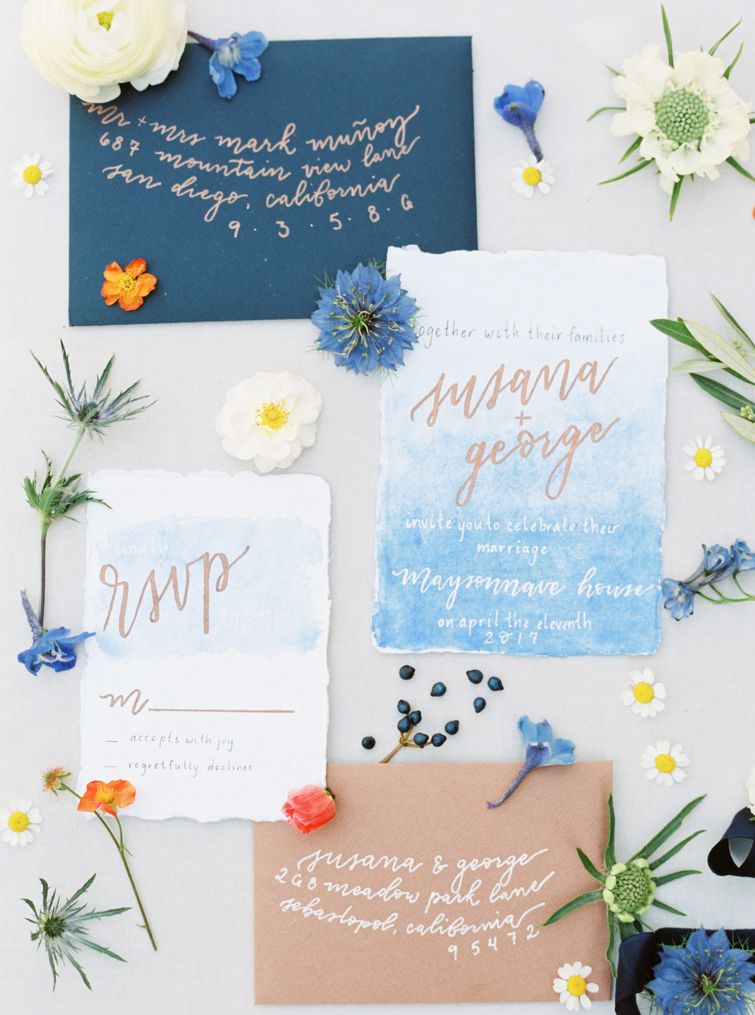 Blue-copper-wedding invitation-wine country wedding-bow and arrow calligraphy-emily march payne photography