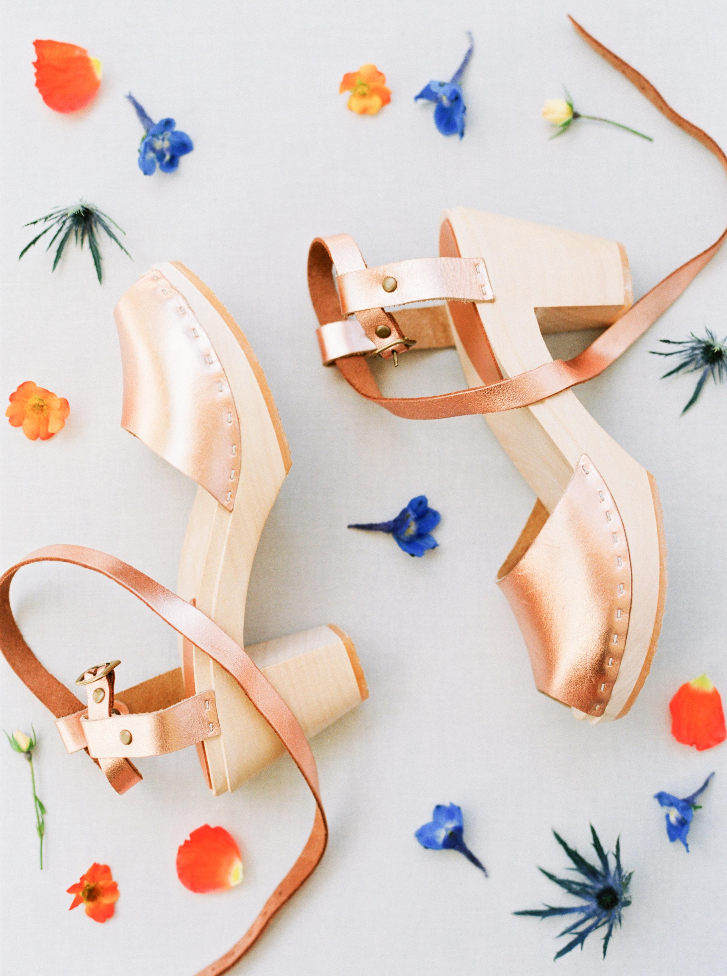Bryr clogs-rose gold wedding shoes-emily march payne photography-modern americana wedding