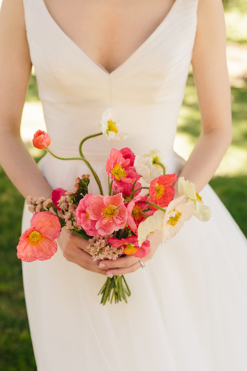 Late Spring Poppy Bouquet by Lambert Floral Studio for a Wine Country Wedding at Scribe Winery- Simone Anne Photography - CakeBloom - Sonoma, CA