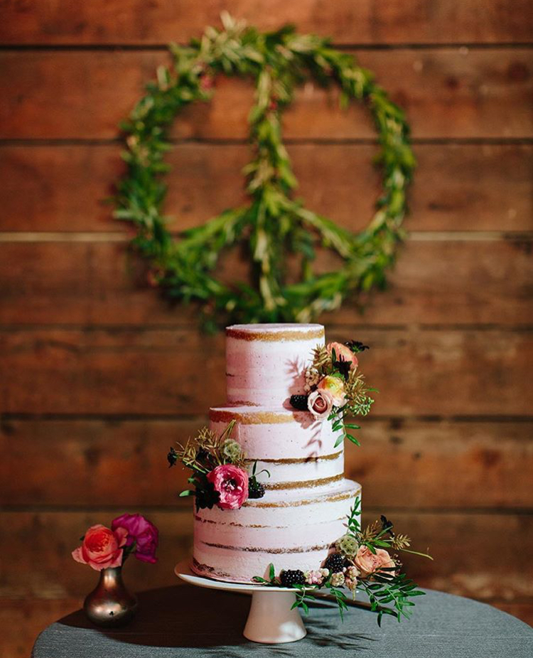 Semi-naked cake with fresh berries by Cake Bloom for a fall wedding at Olympias Valley Estate in Petaluma