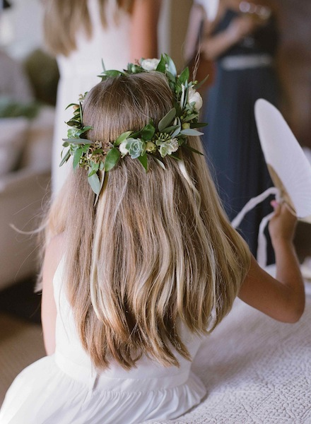 Succulent Floral Crown with whites and greens  by Scarlett and Grace | Meg Smith Photography