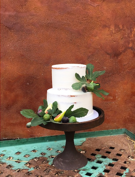 Rustic Style SemiNaked Cake with Figs and Fig Leaves for a Fall Wedding in Wine Country | Cake Bloom, Sonoma.jpg