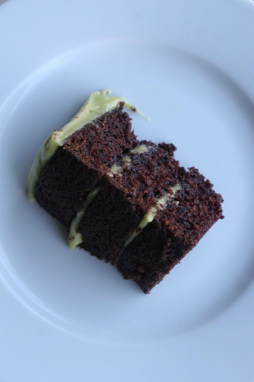 avocado cake slice with avocado buttercream | recipe by Cake Bloom | Sonoma, CA