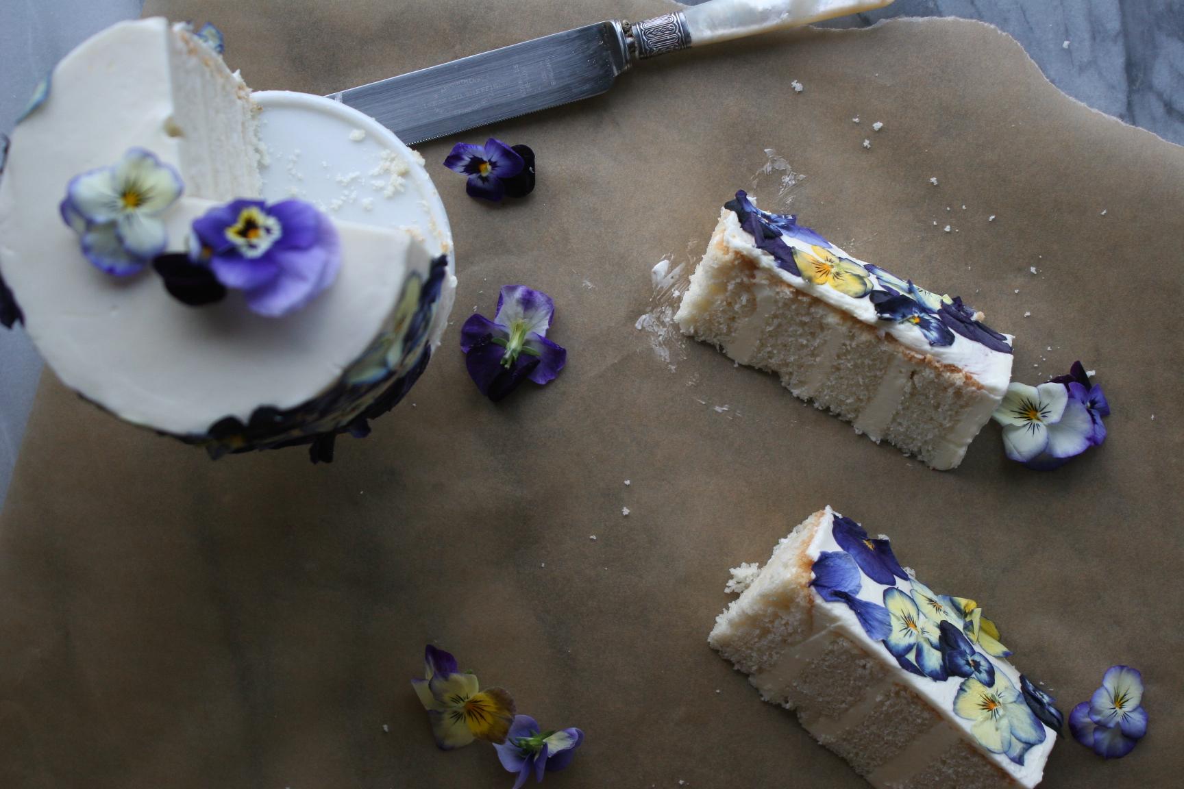 Pressed Edible Flower Cake Slice   Cake Bloom   Sonoma, CA