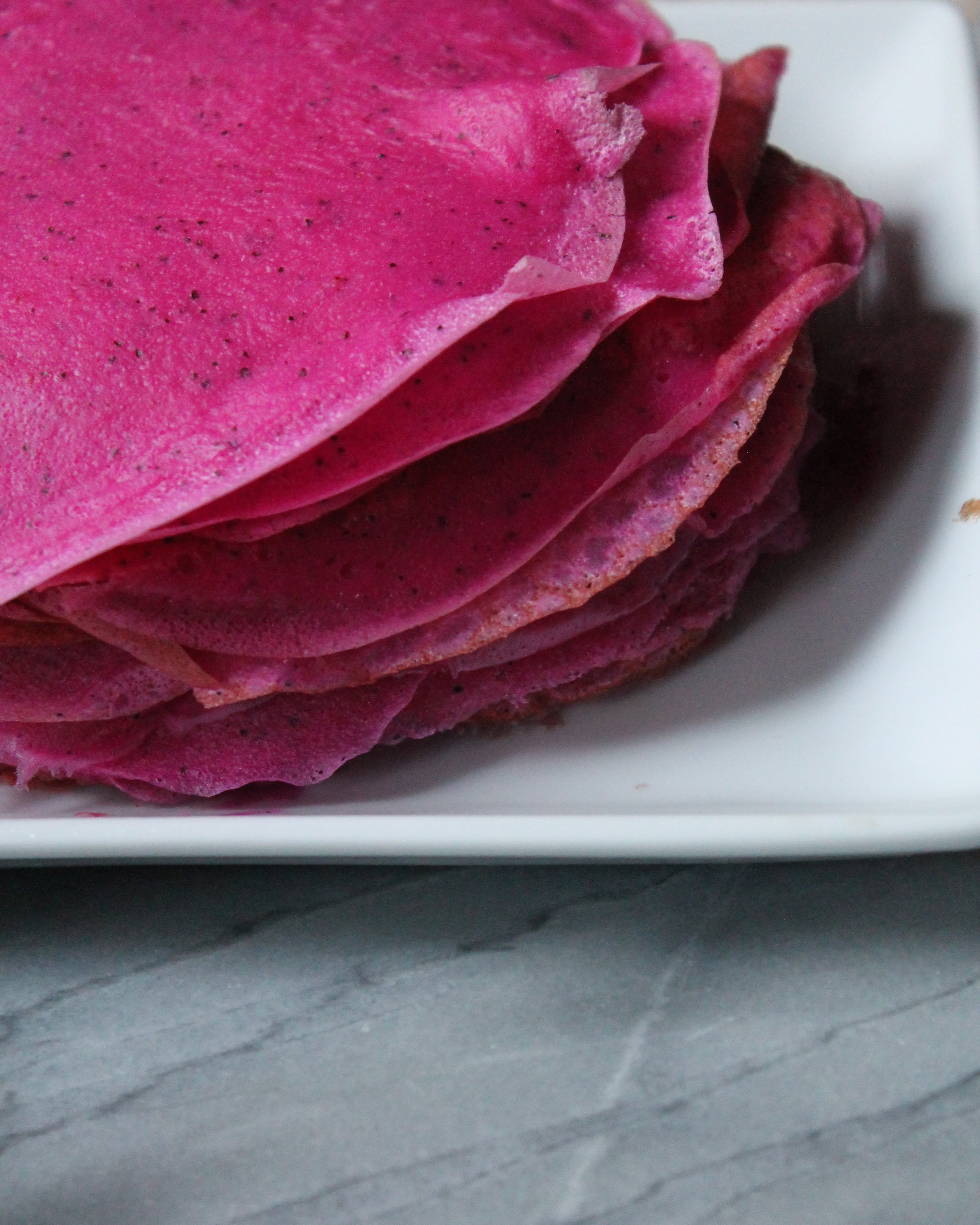 dragon fruit crepe cake prep