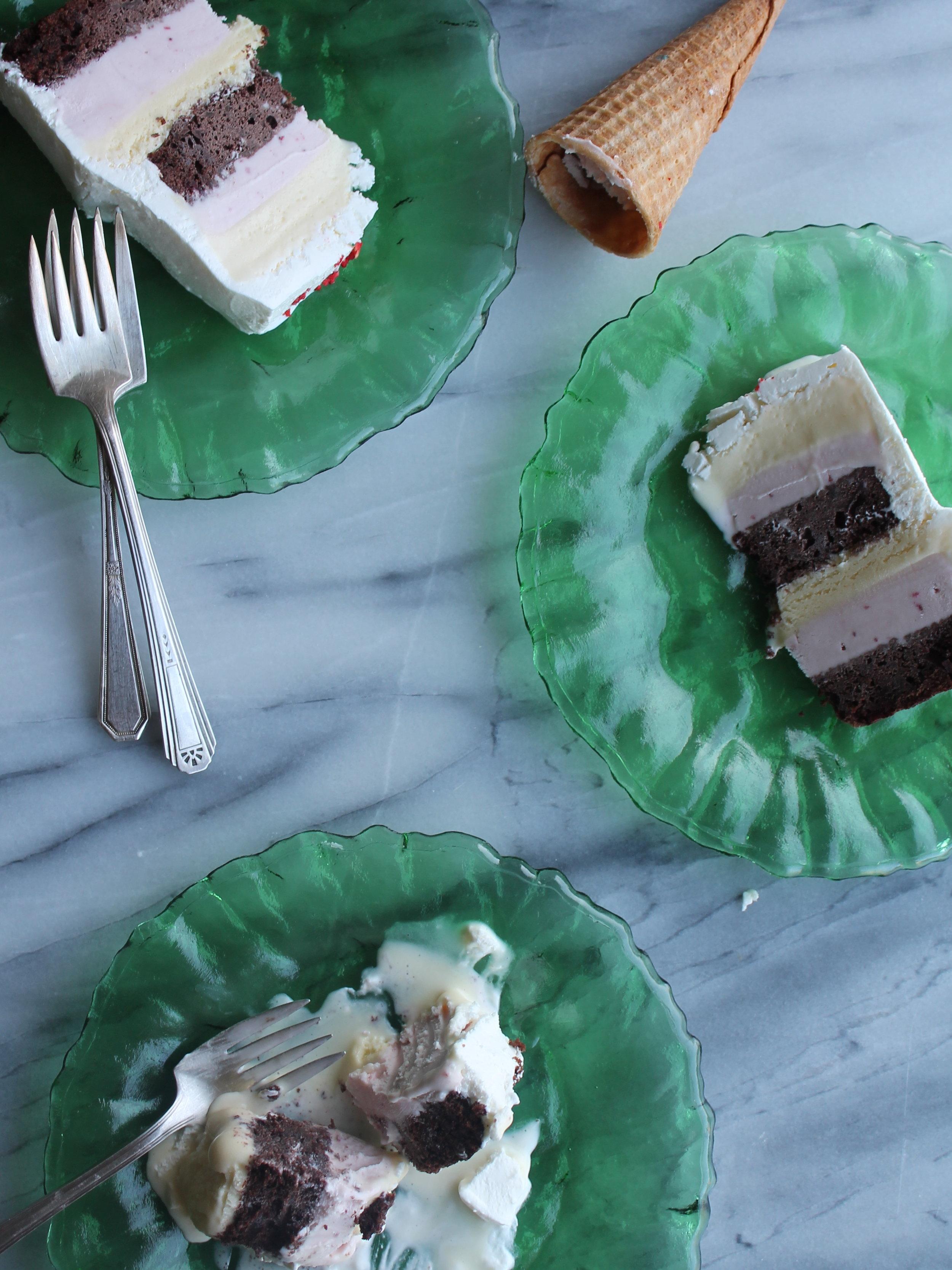 neapolitan ice cream cake slices