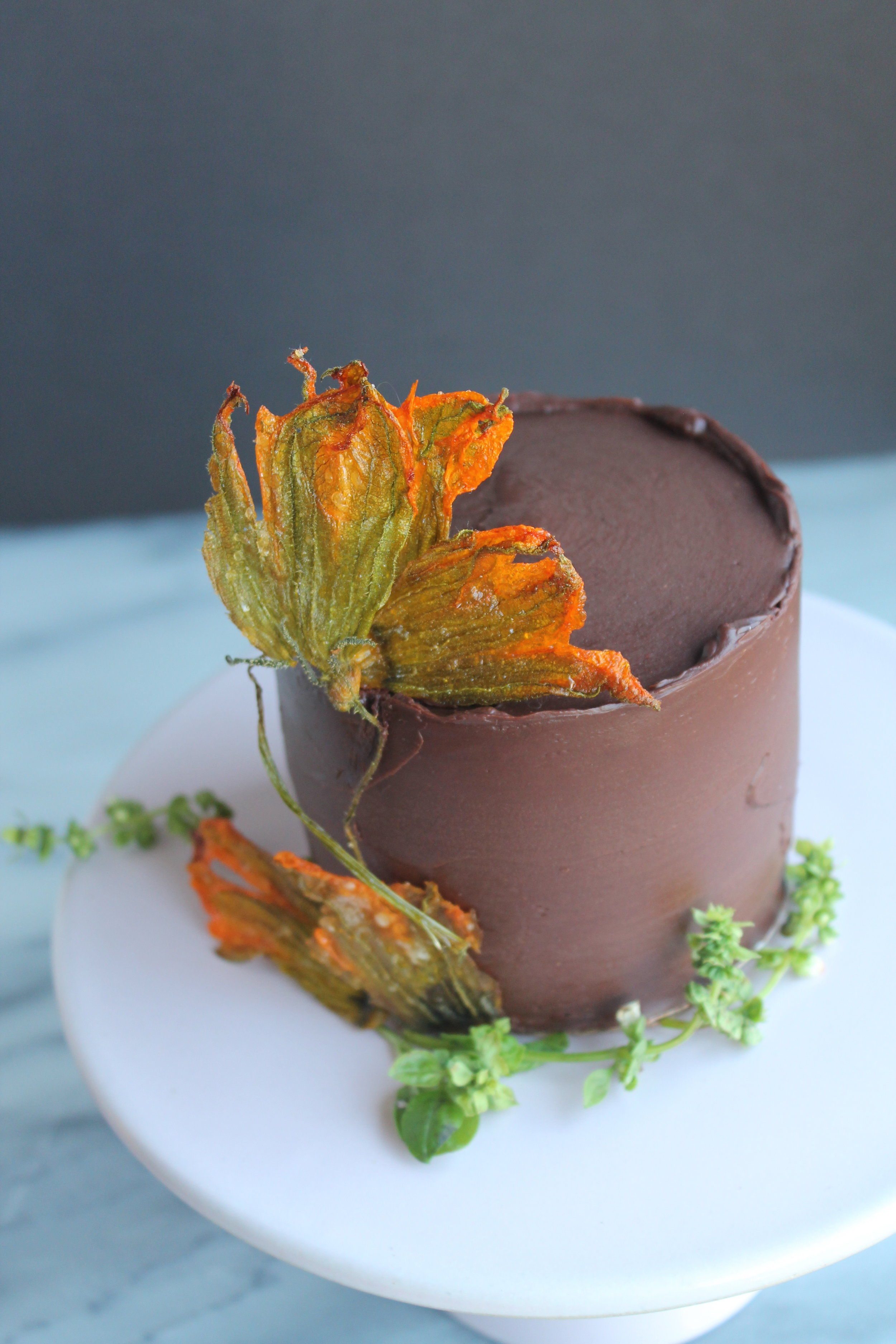 How to Make Chocolate Zucchini Cake with Candied Squash Blossoms