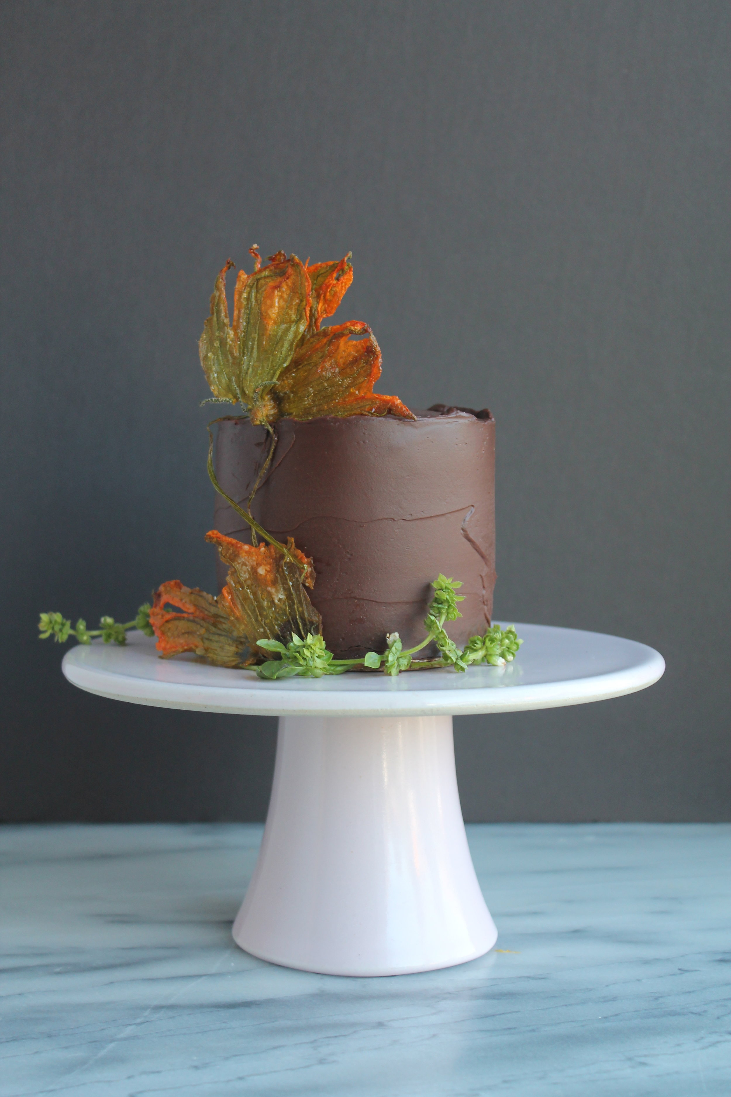 Recipes for Chocolate Zucchini Cake with Candied Squash Blossoms and Chocolate Basil Ganache