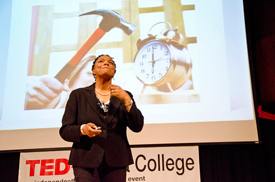 Michelle Courtney Berry engages her audience in a TEDx talk on mindfulness and health.