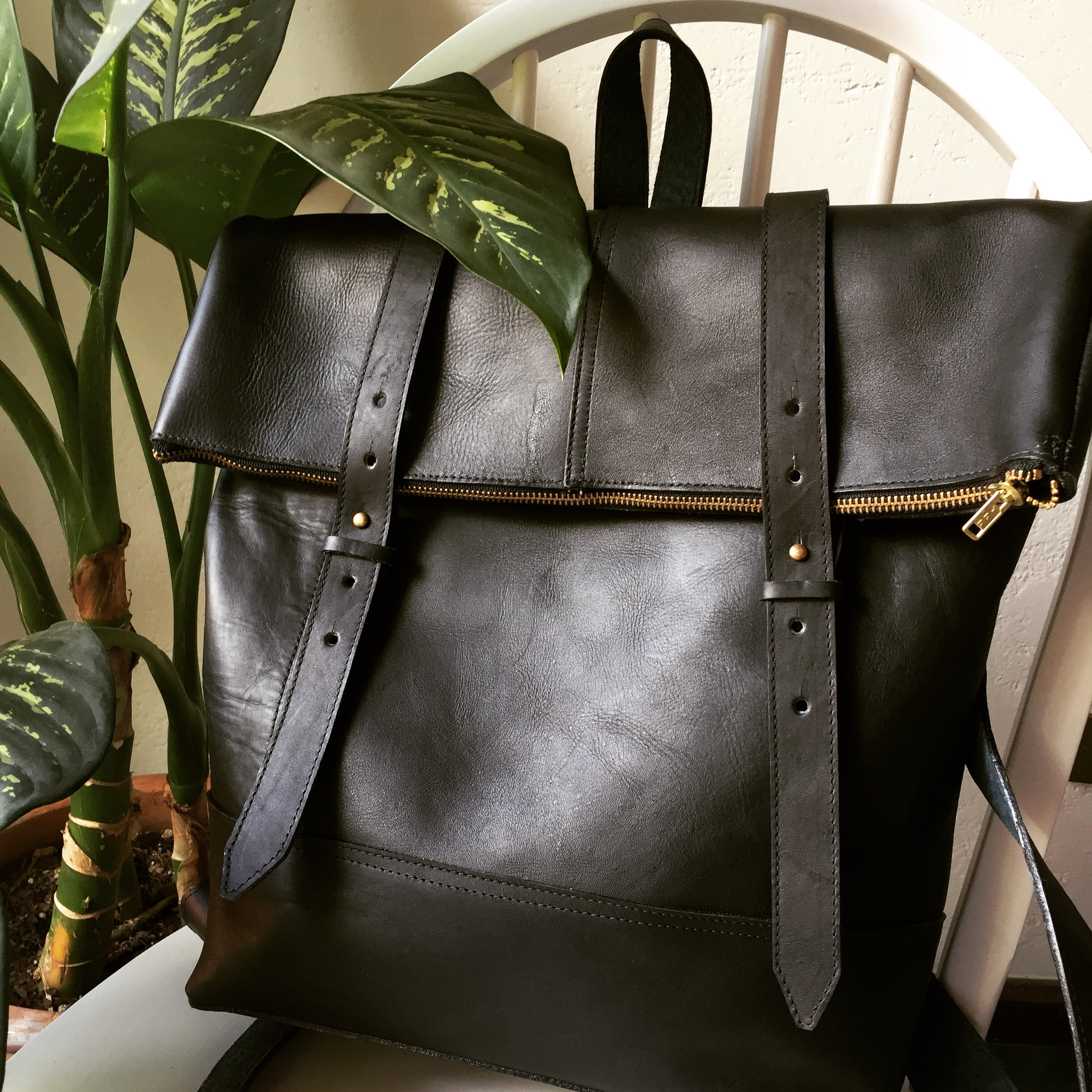 Black leather with blue leather detailing