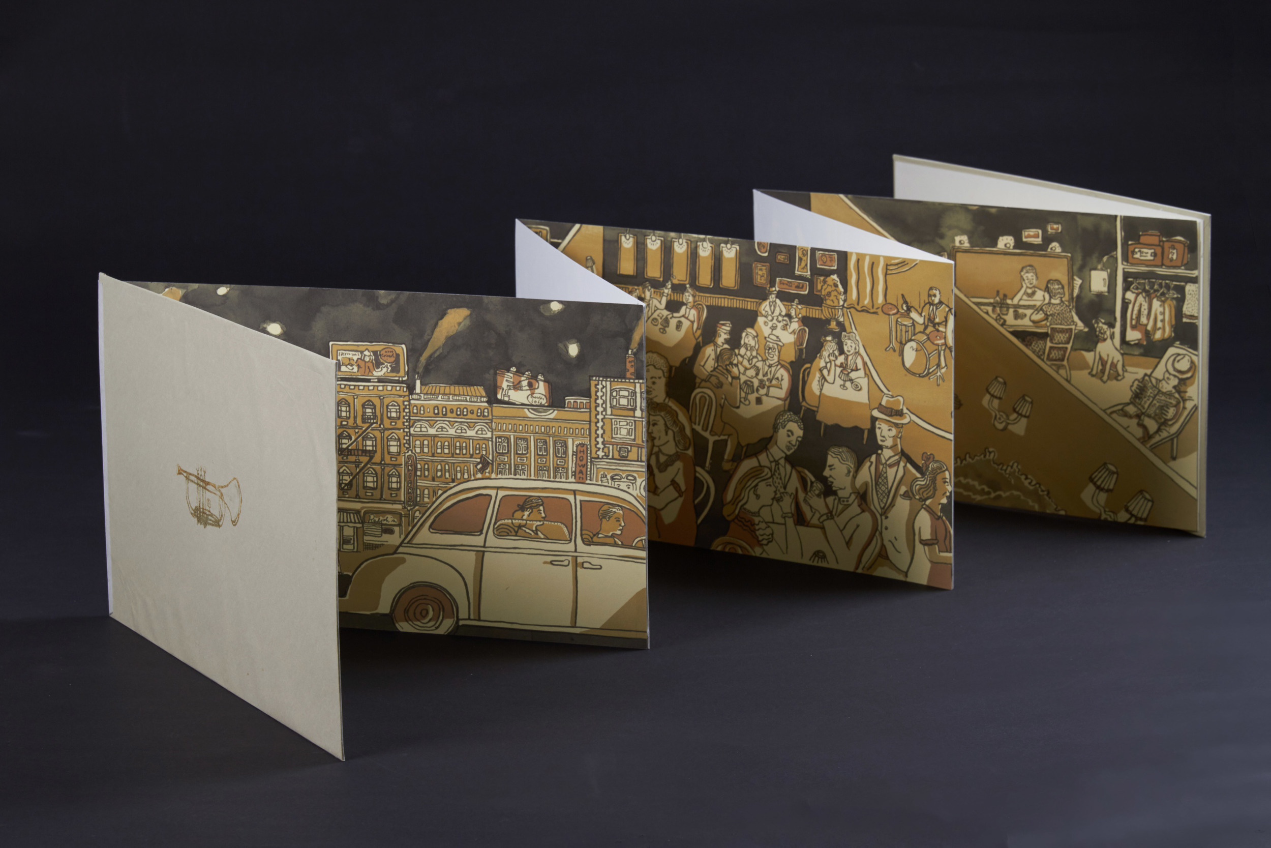 A long, connected illustration turned into 5 paneled accordion book