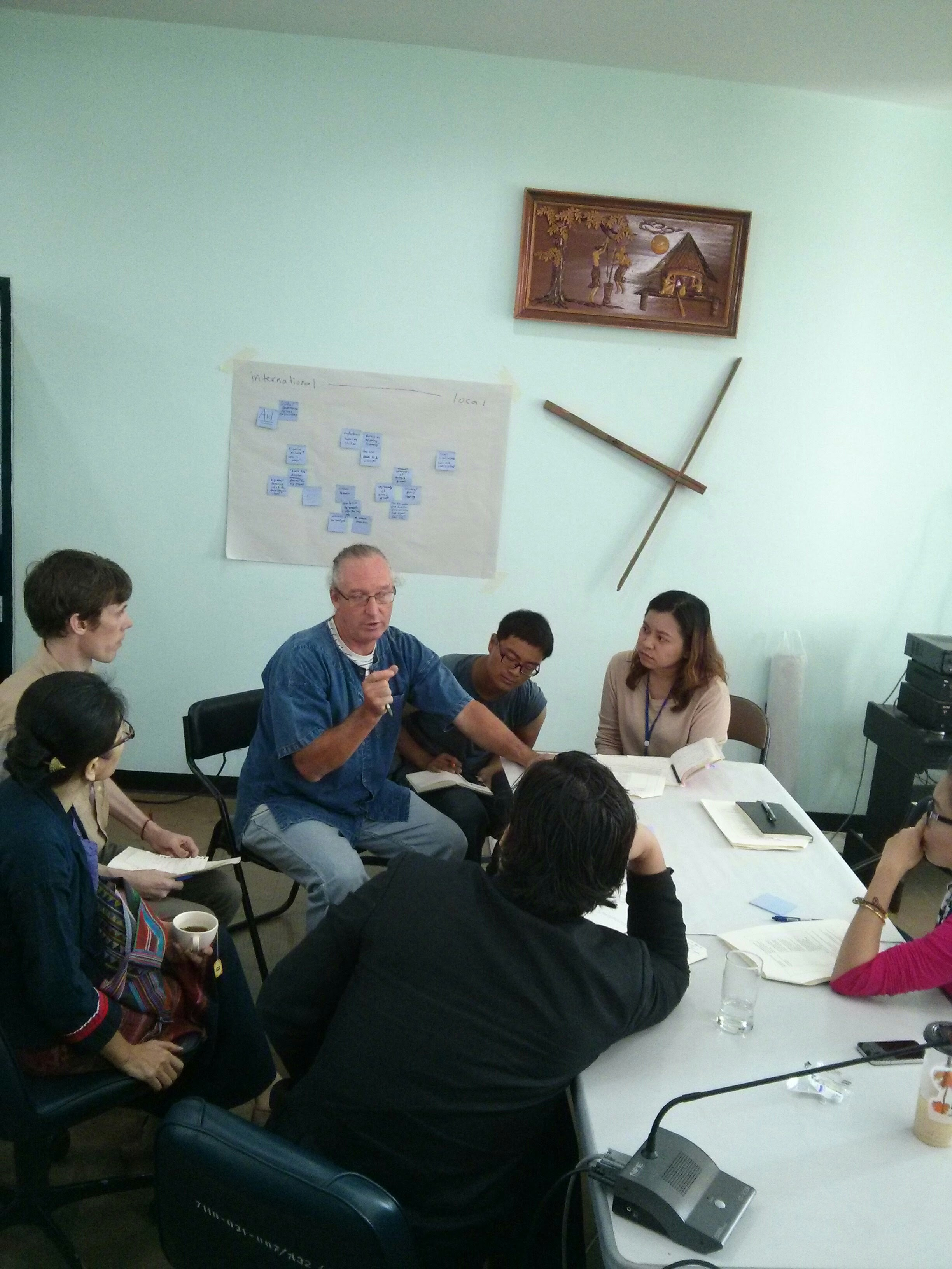 Small group discussion at the Salween University Network meeting. Photo: V. Lamb.