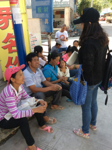 Interviewing local people.