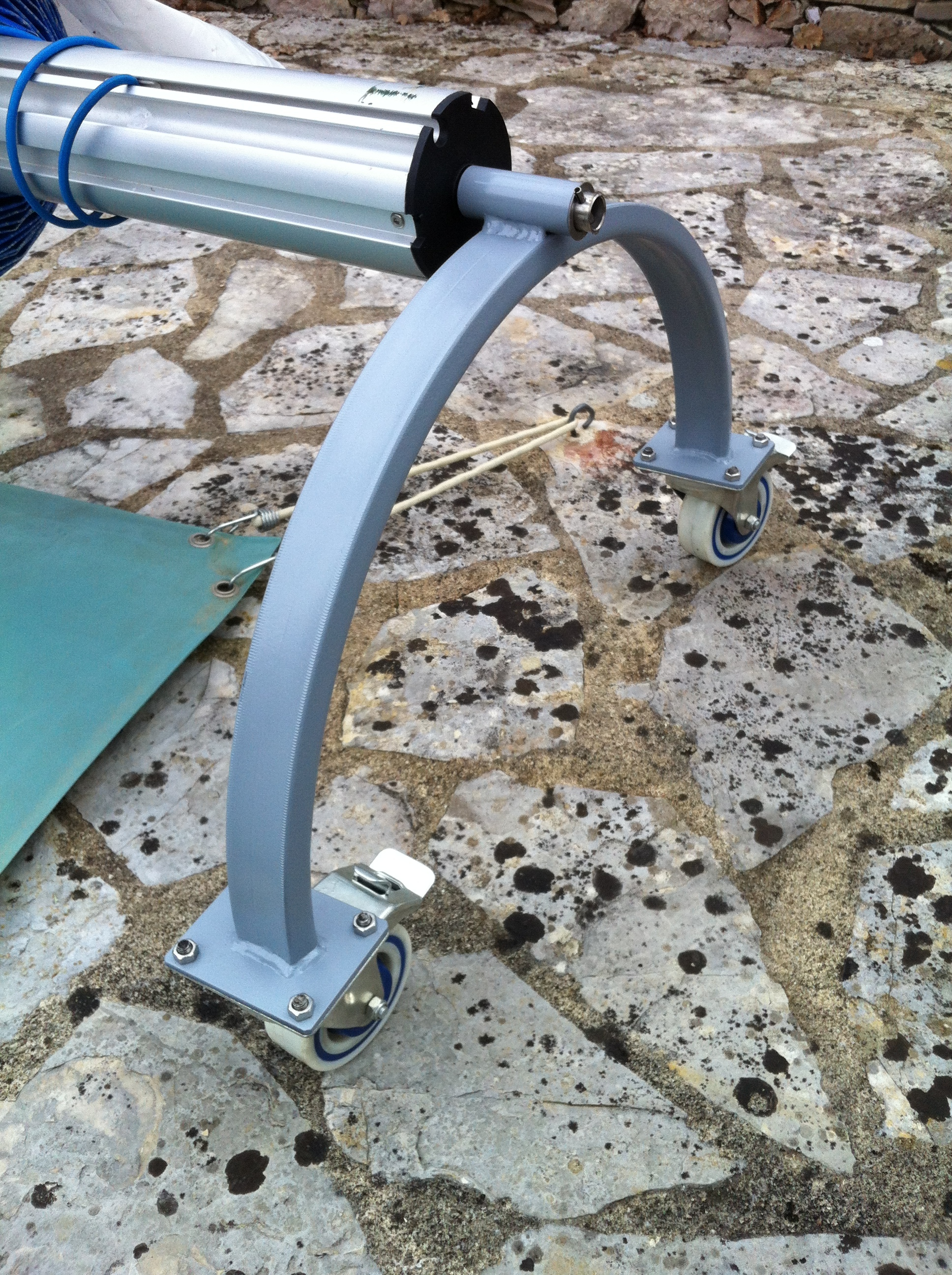 An unusual one here, fabricating strong and robust end supports for a very long pool cover holder. Note the addition of strong, locking castors for ease of moving it about.