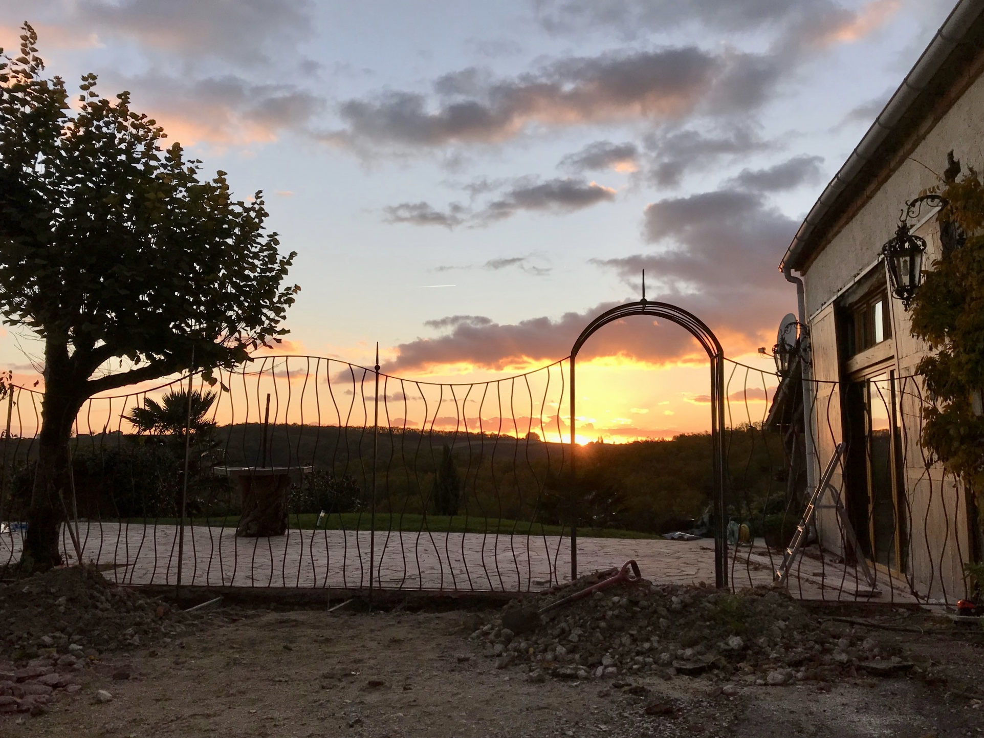 A view of the trellis and arch taken by the clients at sunset that day. Beautiful!