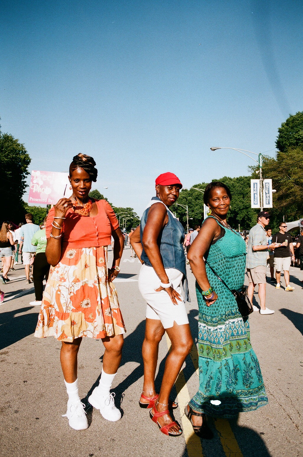 Three Blues Fest festival attendees strike a cool pose for me and my camera. What fun! Chicago Blues Festival 2016, Blake Pleasant