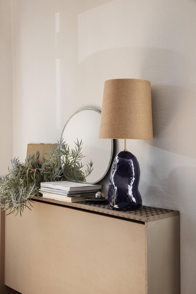 FERM LIVING - Hebe  Lamp Medium / Curry Shade & Deep Blue  Base - £264.00