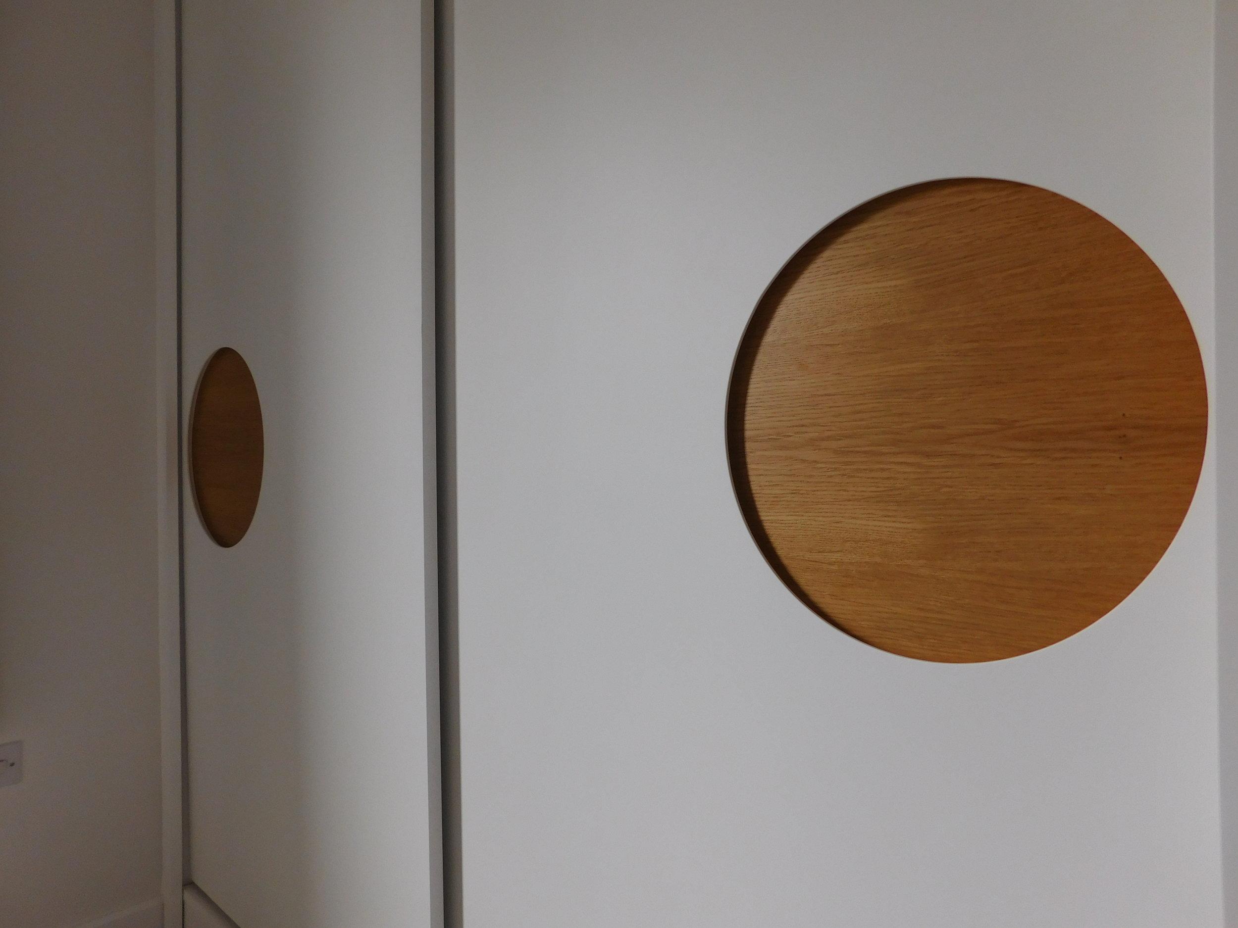 Sliding doors with Oak inset handle panels