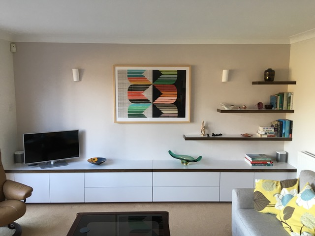 Console unit sprayed in custom colour by 'Little Green' with 'Terra' stained solid European oak lipping. Kent 2019.