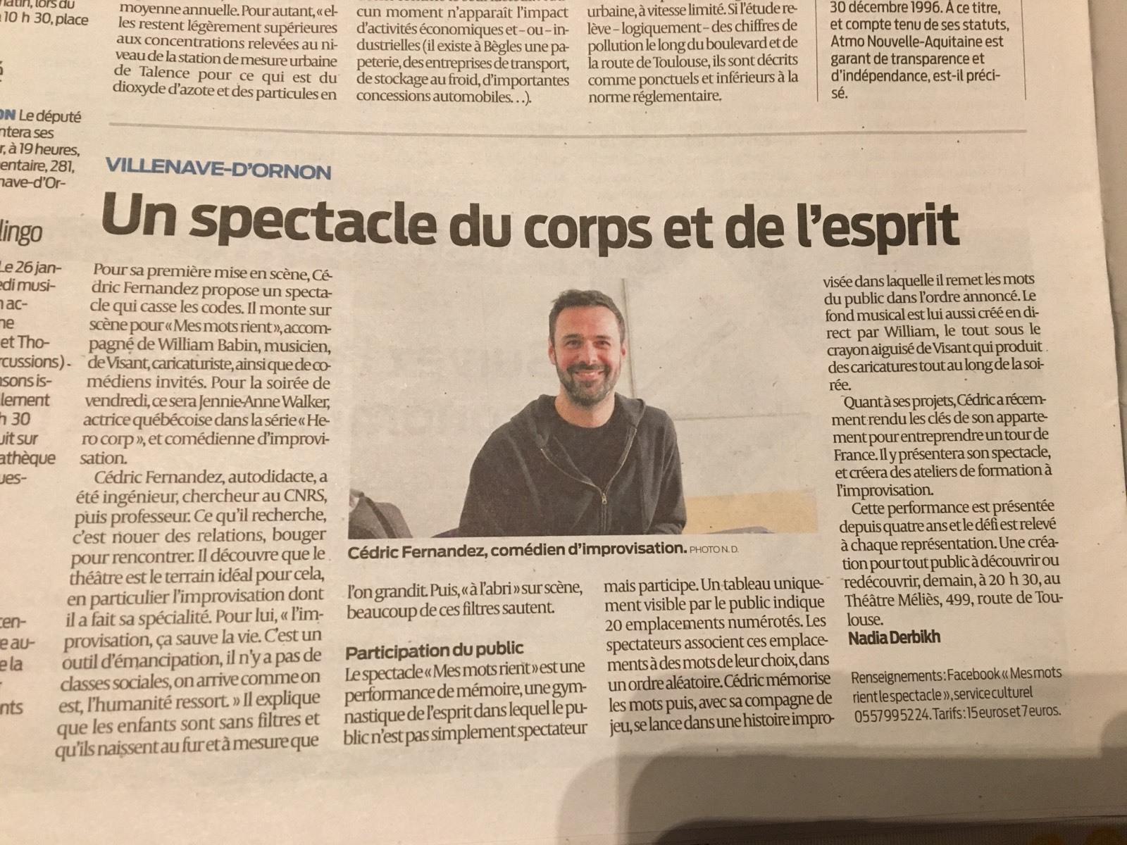 Article Journal Sud-Ouest MMR Villenave d'Ornon