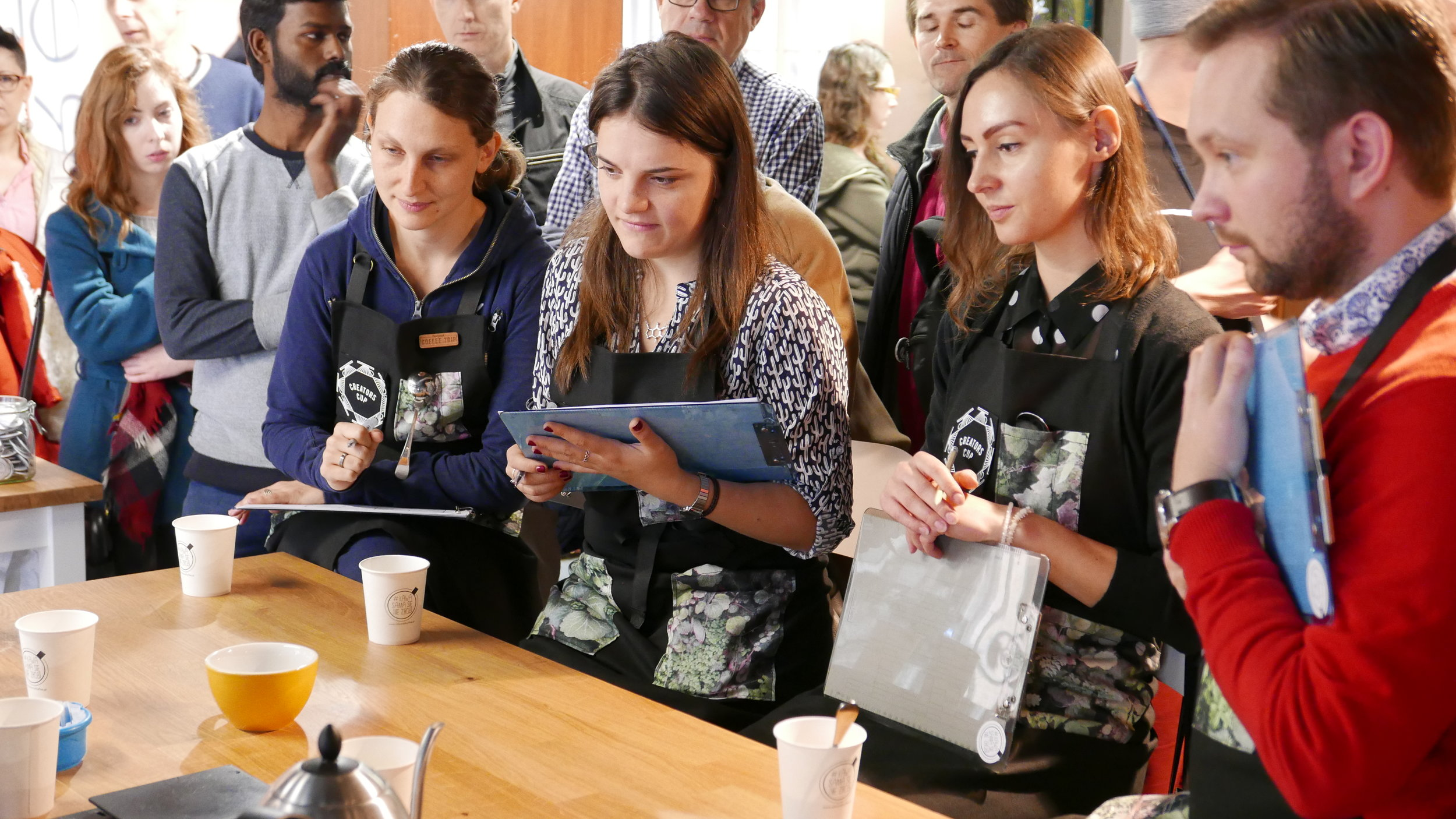 The Judges: Jana (Jane Lash), Belarus. Irina (Mad Espresso Team), Russia. Karolina (Warsaw freelance barista celebrity), Poland. Arek (Story Coffee Roasters), Poland.