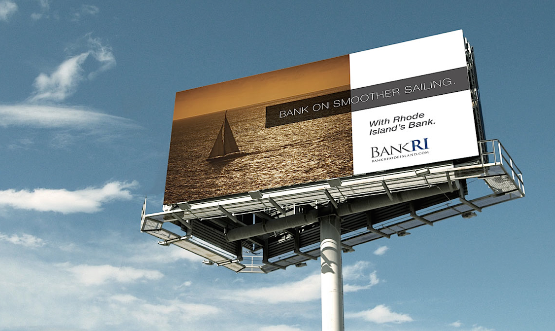 Beautiful outdoor ad concept and billboard design for our client, Bank Rhode Island.