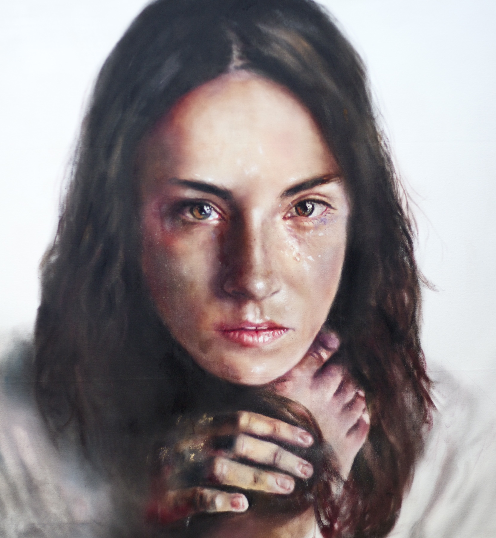 Alabaster woman, 48x44in, oil on canvas  Gentile embrace series