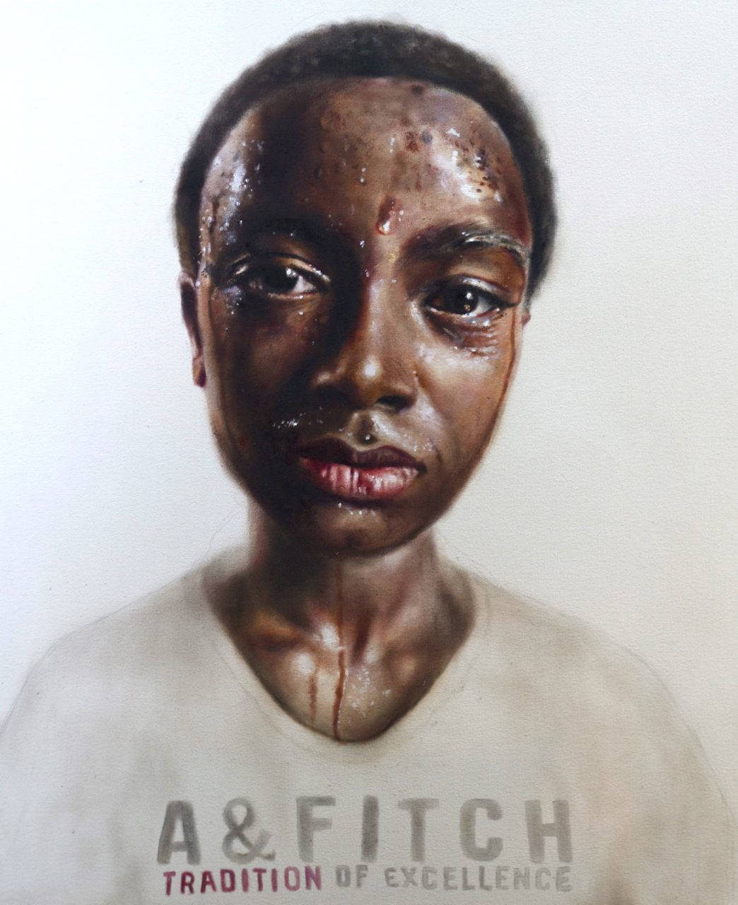 'Sweatshop worker' oil on canvas 44x36in  Brand for Life series Price upon application