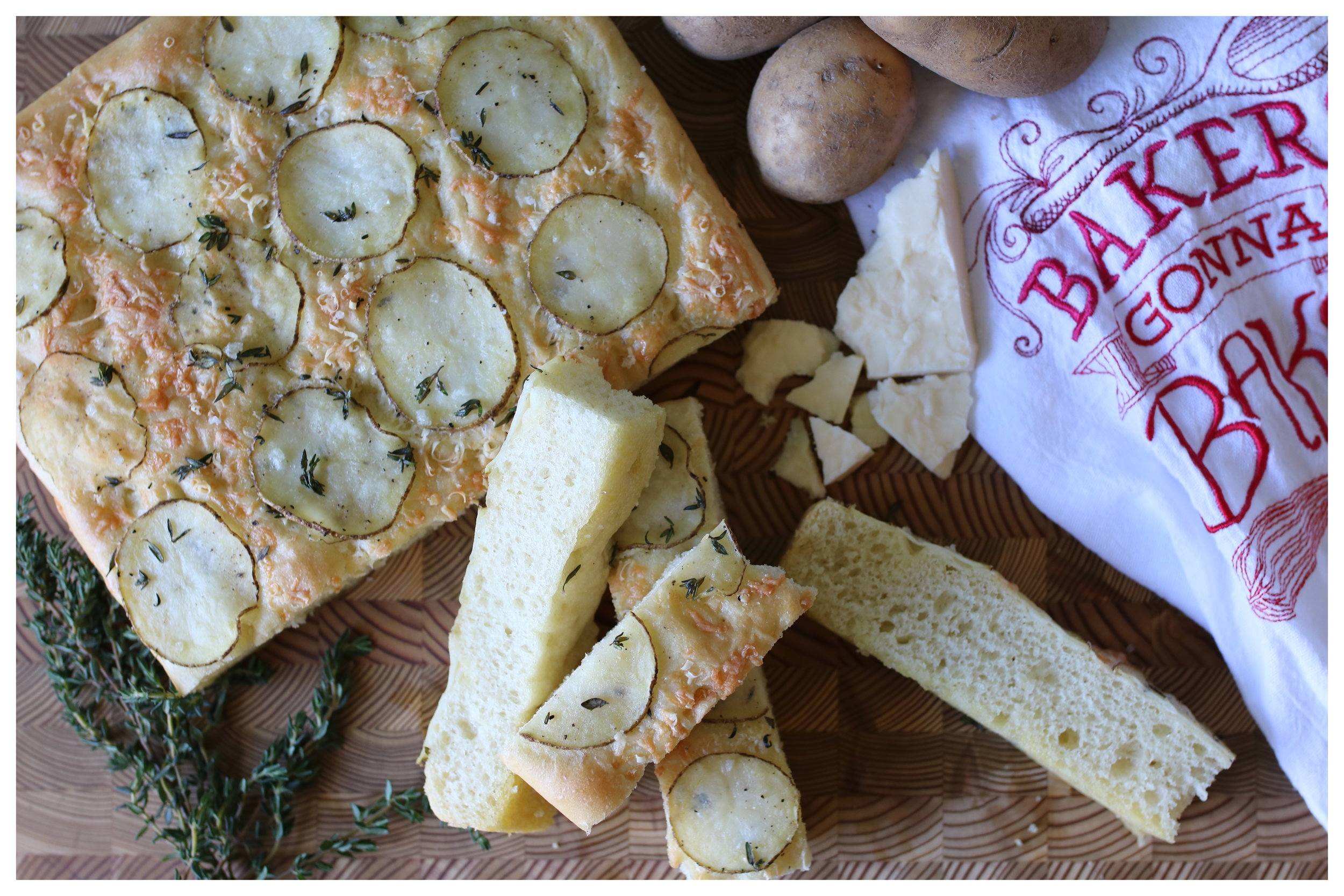 Potato Thyme and Cheddar Focaccia