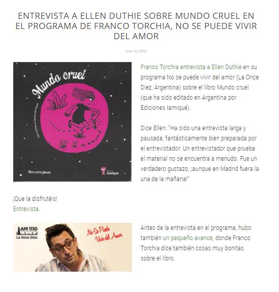 Entrevista de radio sobre Mundo cruel - Entrevista a Ellen Duthie por Franco Torchia