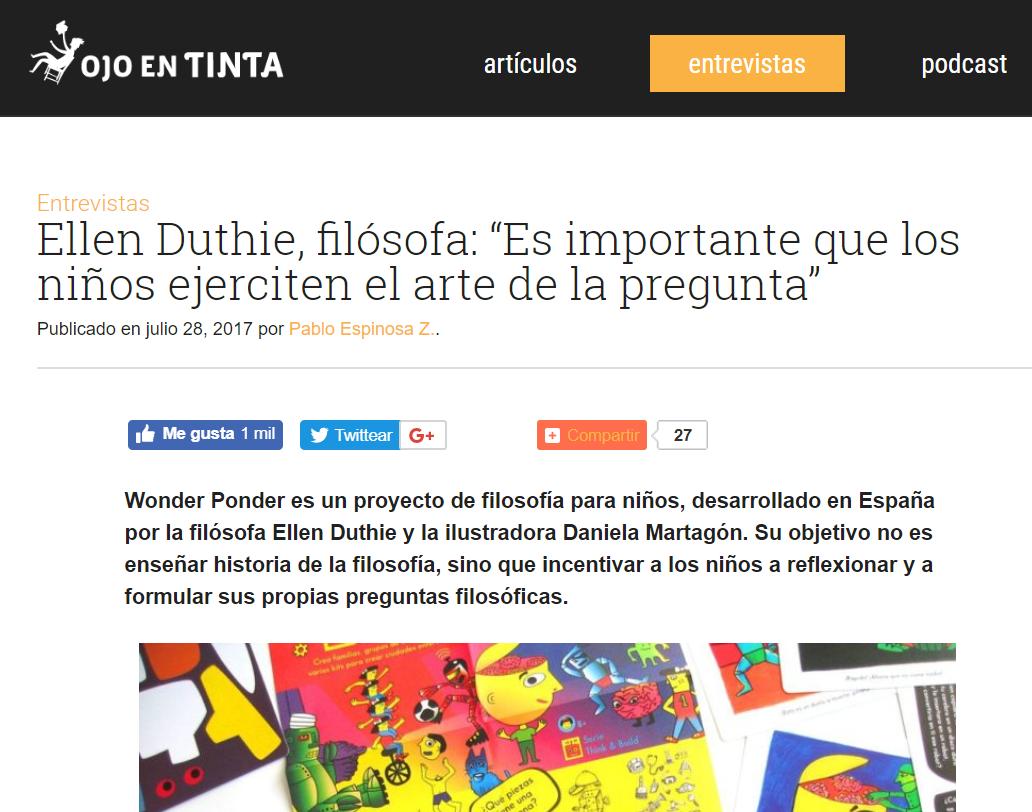 """""""Los adultos tenemos miedo de no saber. No estamos acostumbrados a expresar nuestra incertidumbre y pensamos que puede desestabilizar a los niños."""" - """"Es importante que los niños ejerciten el arte de la pregunta"""". Pablo Espinosa, de Ojo en tinta (Chile) entrevista a Ellen Duthie."""
