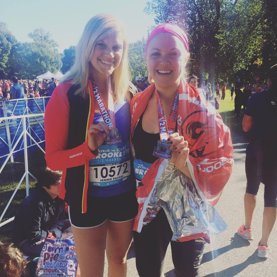 My friend Jennie and I (that's right, two blondes named Jenni(e) WATCH OUT WORLD) after finishing my first half last October (not her first, clearly)
