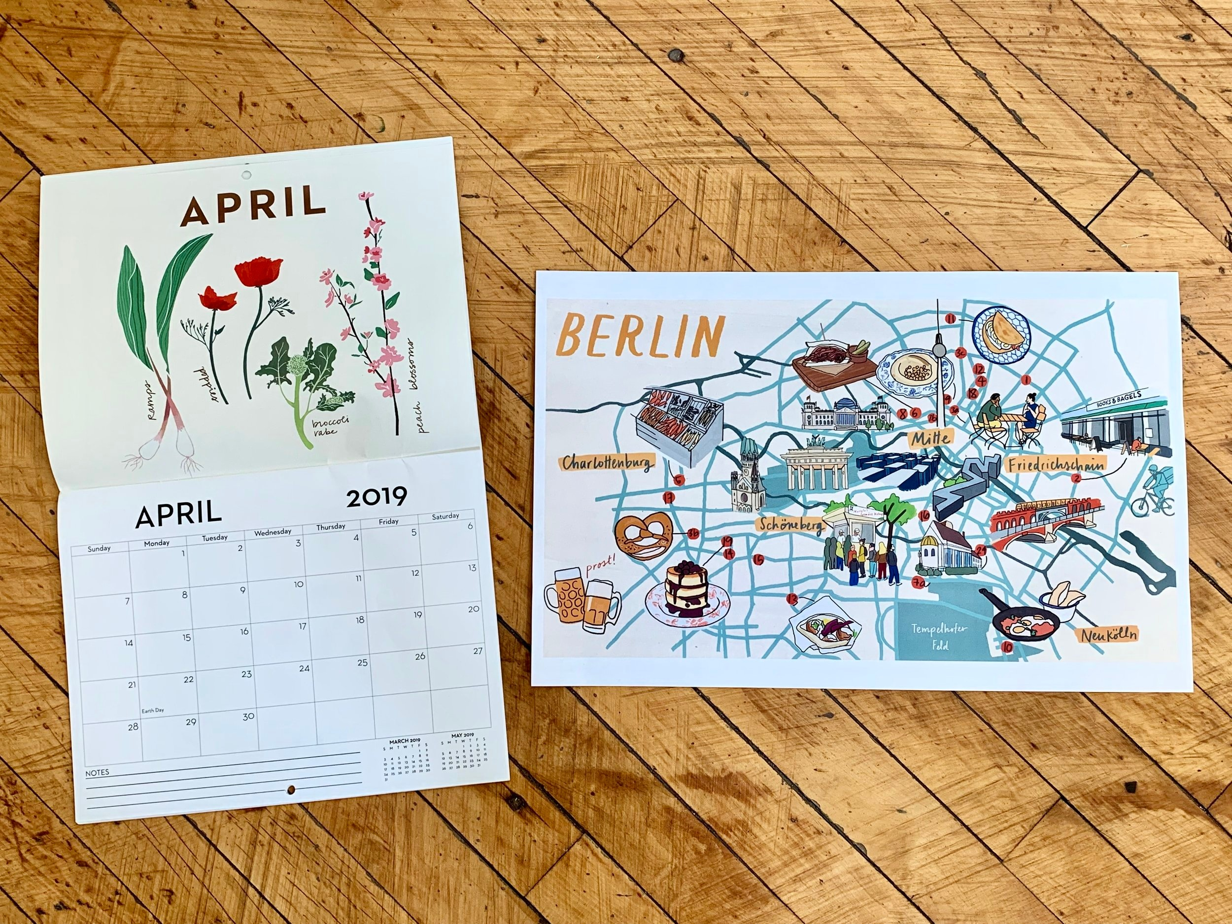 Some examples of Aly's artwork: Grow NYC calendar and poster for The Nosher