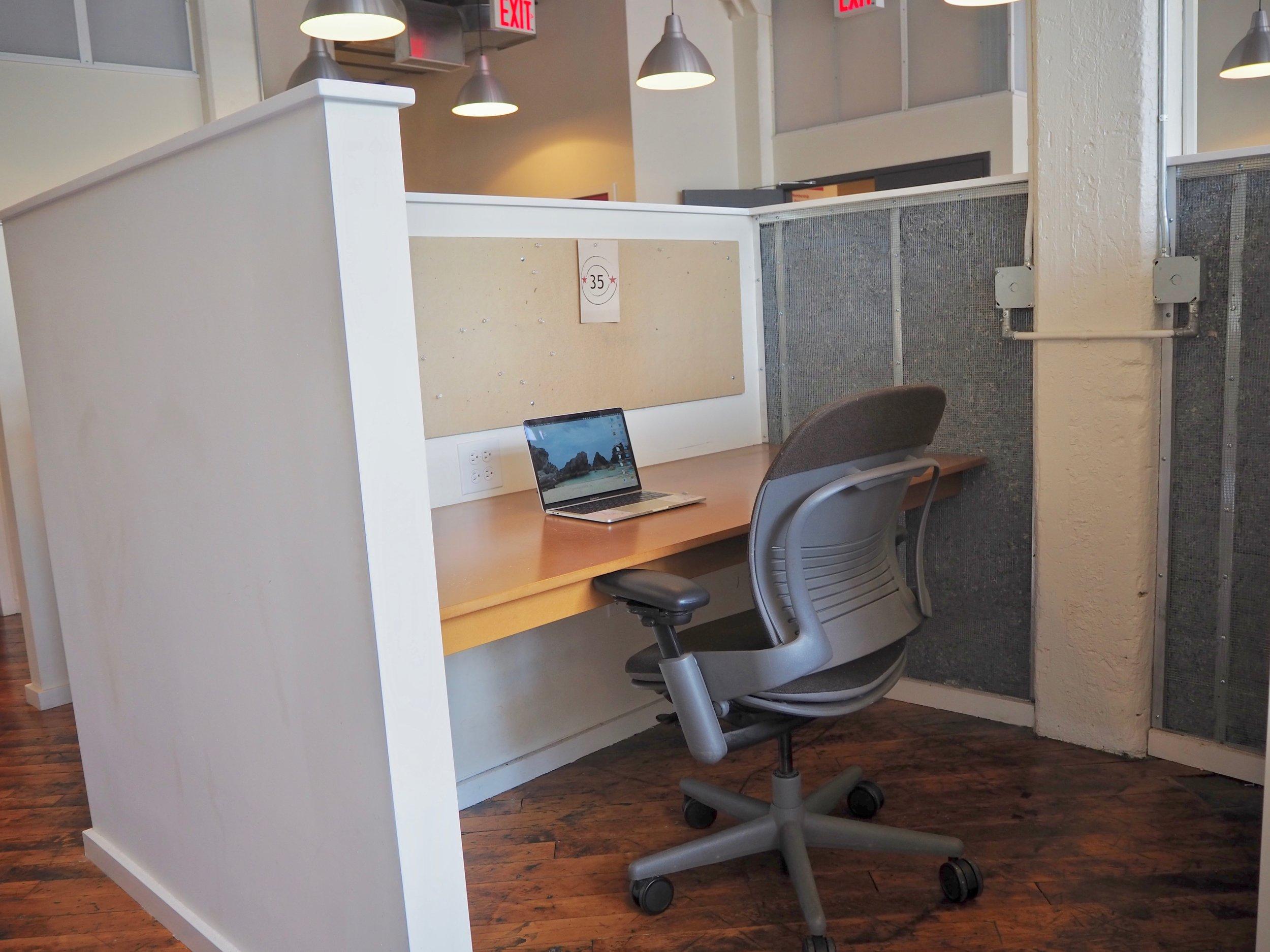 Enjoy a semi-private desk on 1