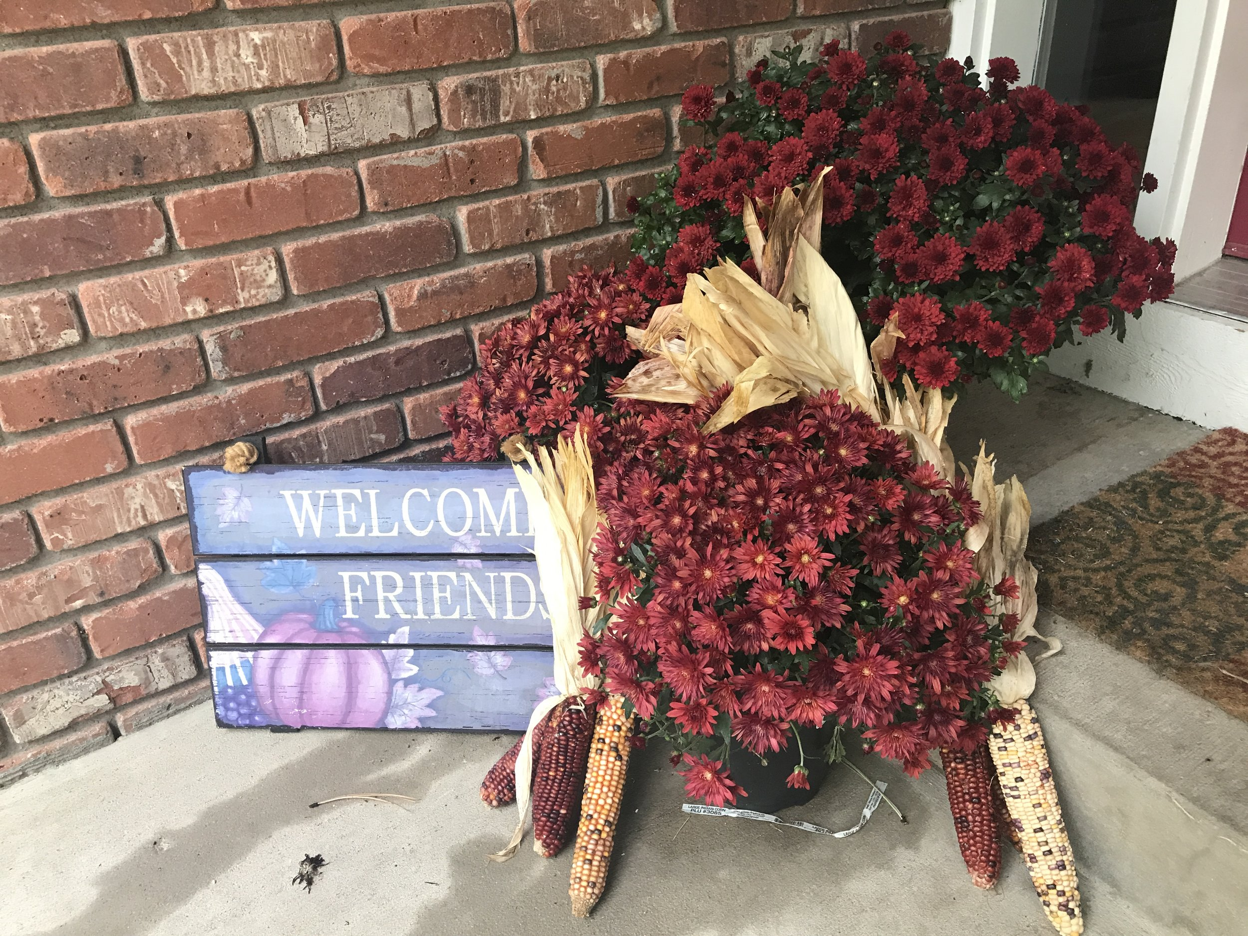 """First, the welcome lets everyone know they have a place to """"sit and rest a spell.""""I love the reddish-maroon mums. Simple was the aim this year--and Darcy Dog loves retrieving Indian corn in her mouth so it is always rearranged and piled again."""