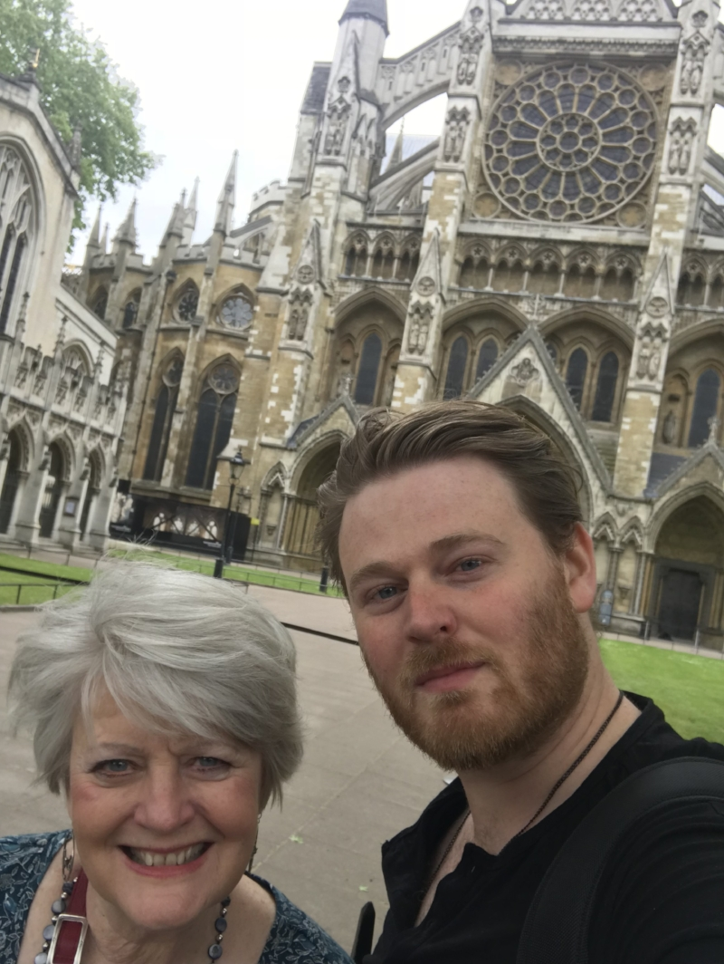 Nathan and me blowing away at Westminster Abbey in London!