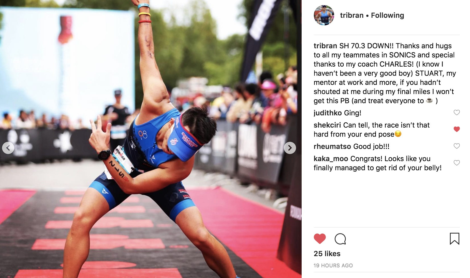 Brandon is the guy like to have some fun at training and he likes to mix my prescribed weekly program like a special fried rice! But it doesn't stop him to finish another 70.3 with PB and gain a slot to the World Championship! Keep this finish line pose in Nice!!