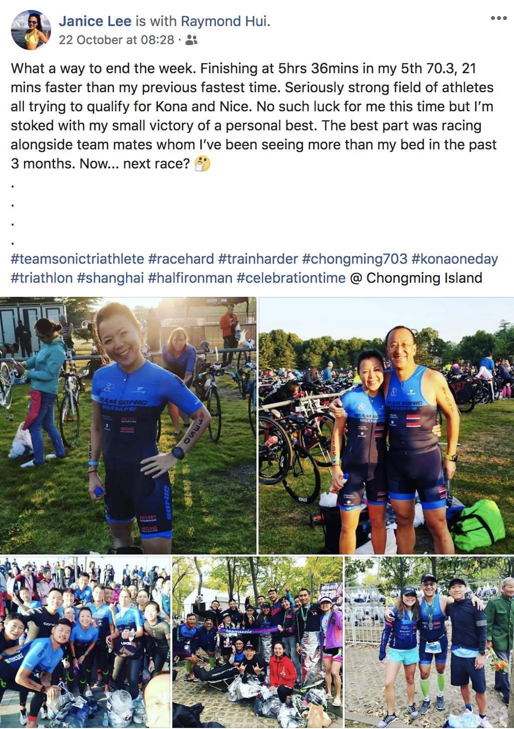 Janice aka fitJan is our Triathlon Queen in Sonic! I am happy to work with her to achieve another PB while maintaining the schedule didn't impact too much to her job and social life. We all know this girl is the speed daemon, and she could be even faster!