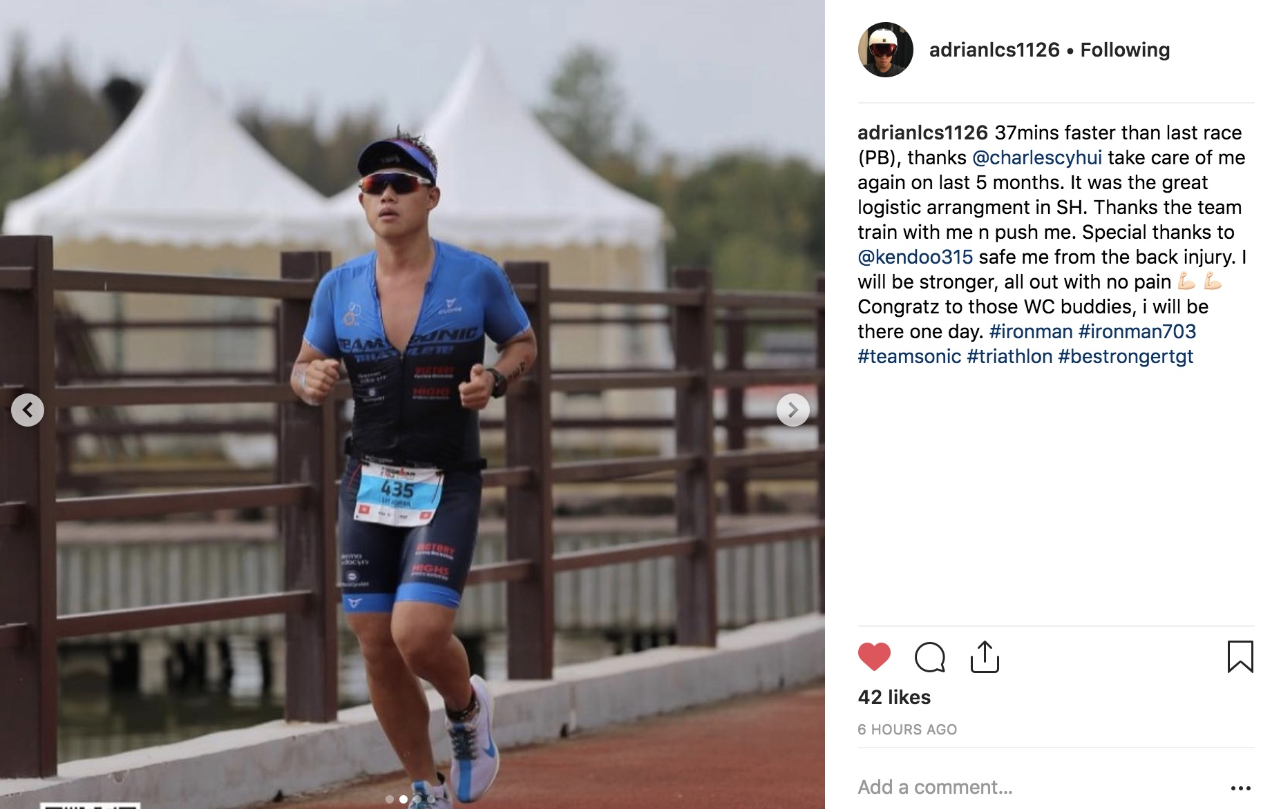 Adrian is one of the hardworking triathlete who dedicated into training, he is the one that willing to work on the weakest. As a college swimming background, he understand how to get though the hard set. He improved a lot though joining our run program unfortunately the back injury was triggered prior the race so he couldn't perform well in this time We will look forward to the next one and make it a even better one!