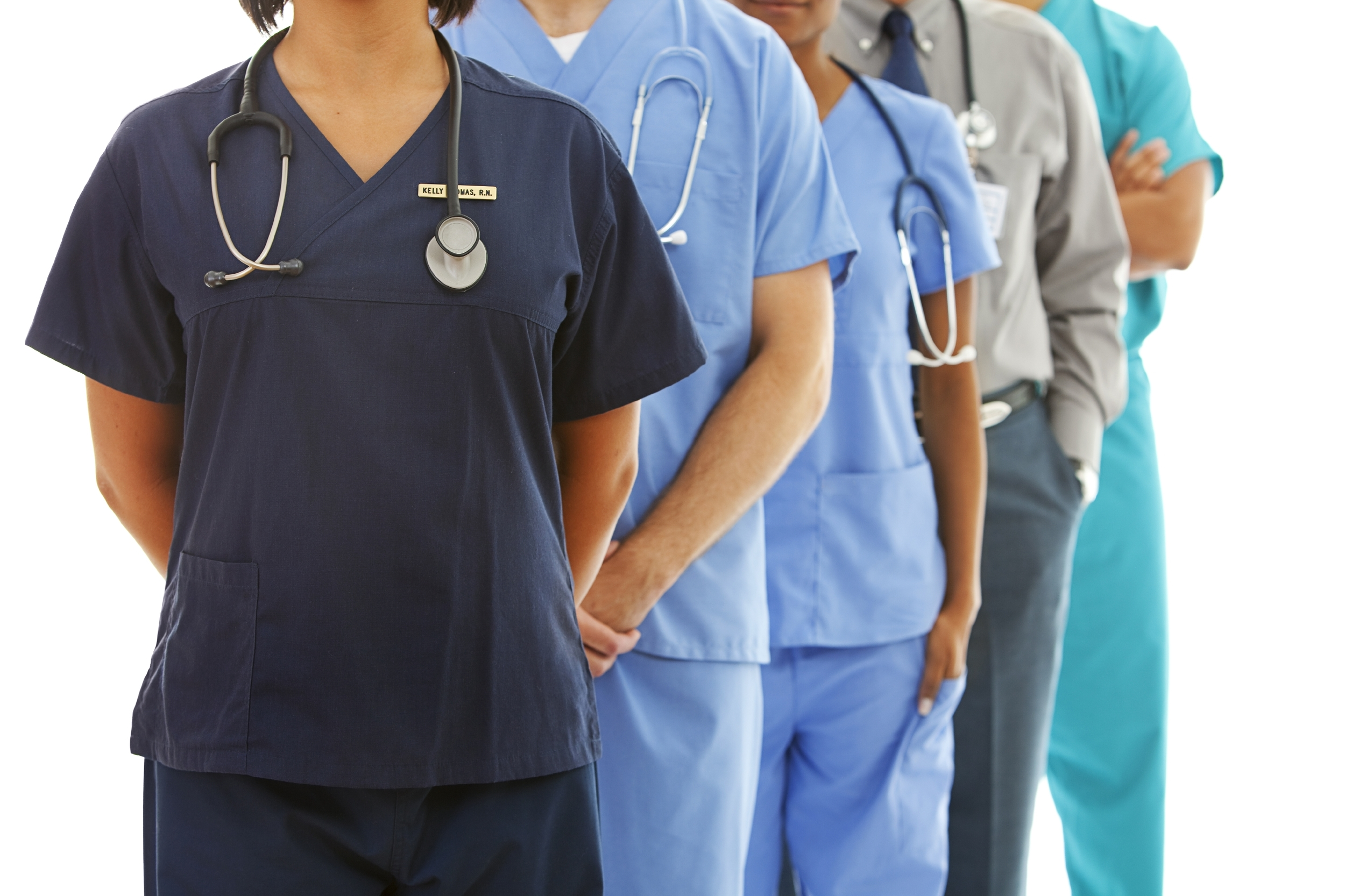 Healthcare workers with no faces showing