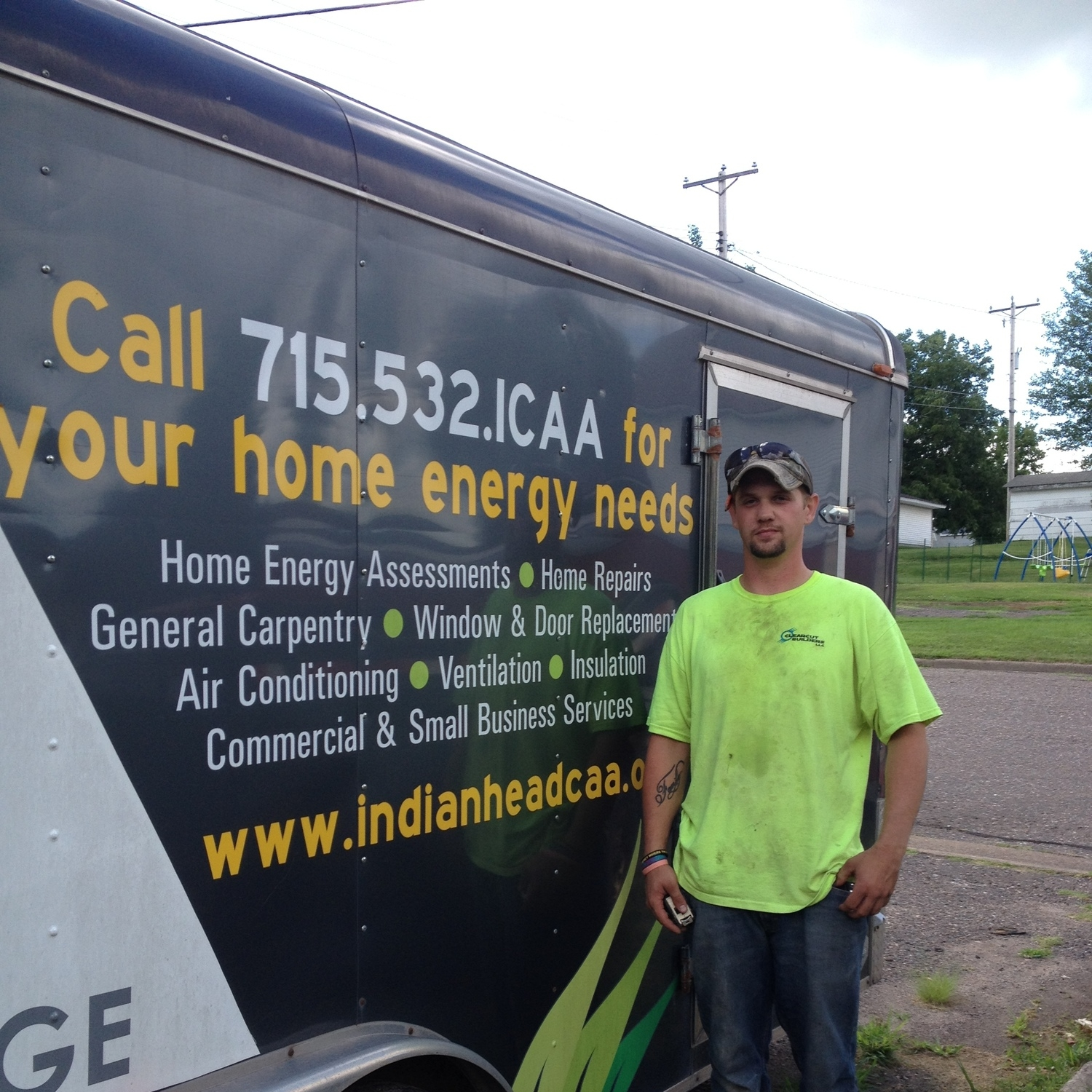Stephen standing next to ICAA equipment trailer