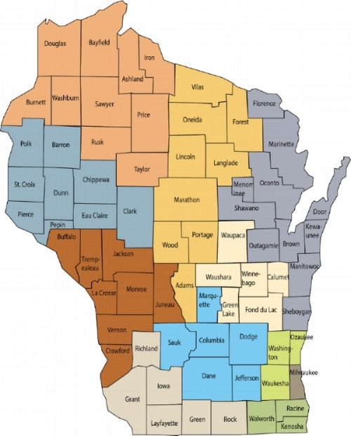 Map of Wisconsin's 11 Workforce Development Areas