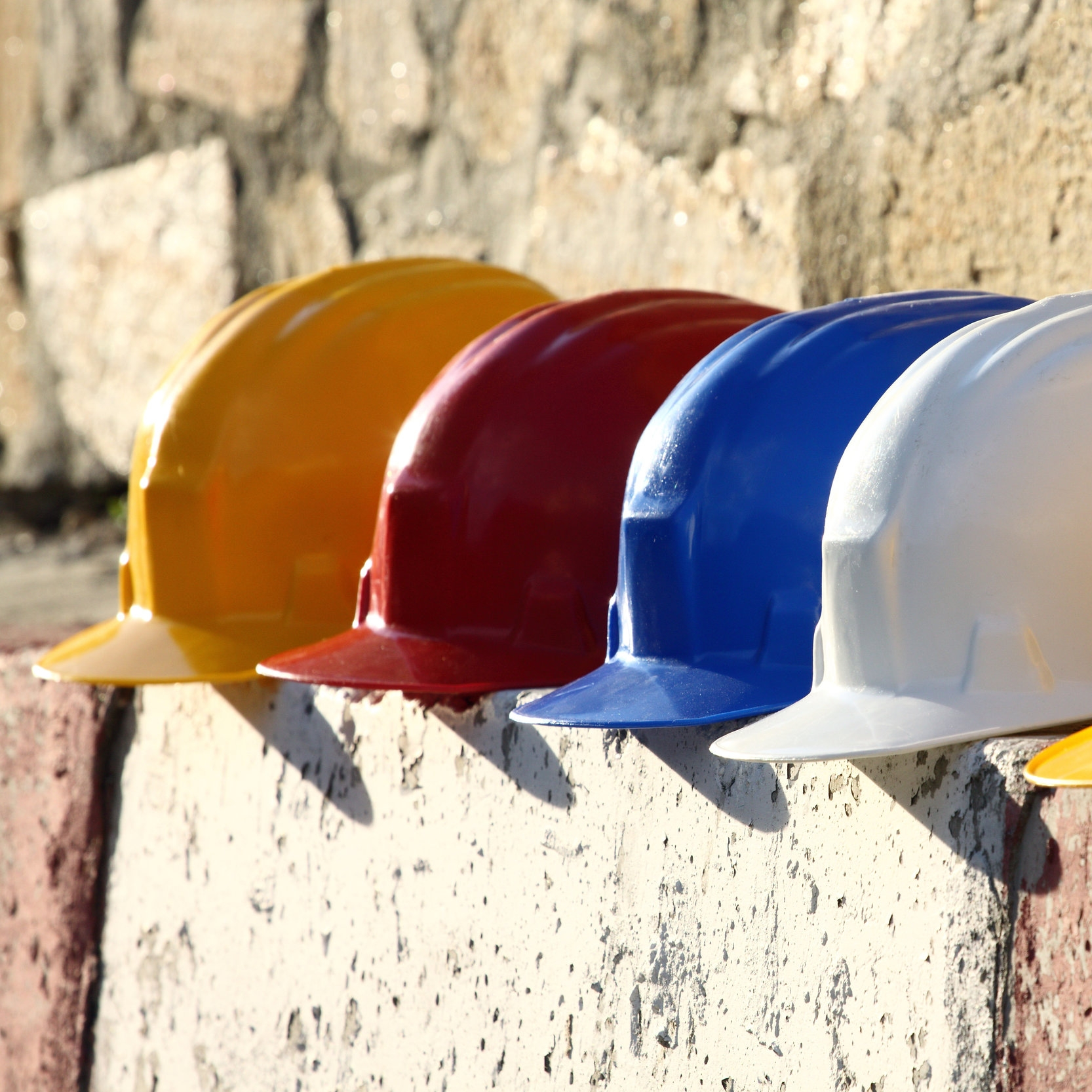 Construction Hard Hats Lined Up