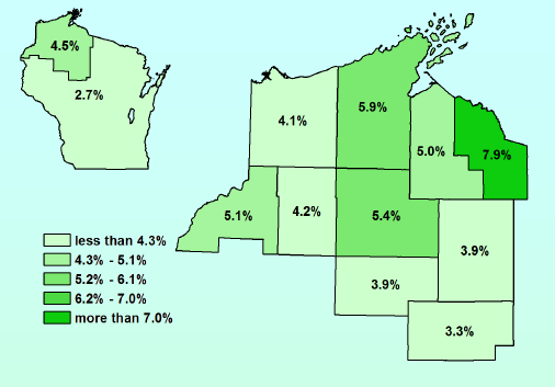 April 2018 Unemployment Rates for Northwest Wisconsin (Workforce Development Area 7) compared to the state unemployment average